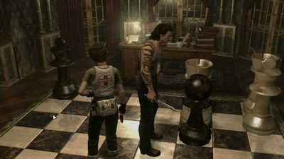 Resident Evil 0. Учебный центр Амбреллы. Двери с рыцарями