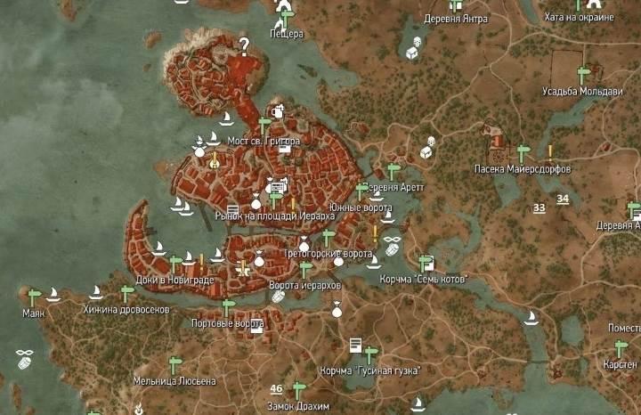 Witcher 3. Карта Новиграда