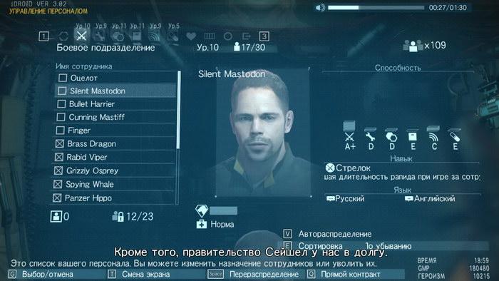 MGS 5. Рейтинг солдат